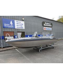 Angelboot Buster L1 Black Satin Metalic Vorführboot Neu