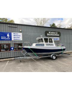 Motorboot Volksyacht Fishermann inkl. Yamaha F60FETL-EFI und Wick 1500kg Trailer Gebrauchtboot